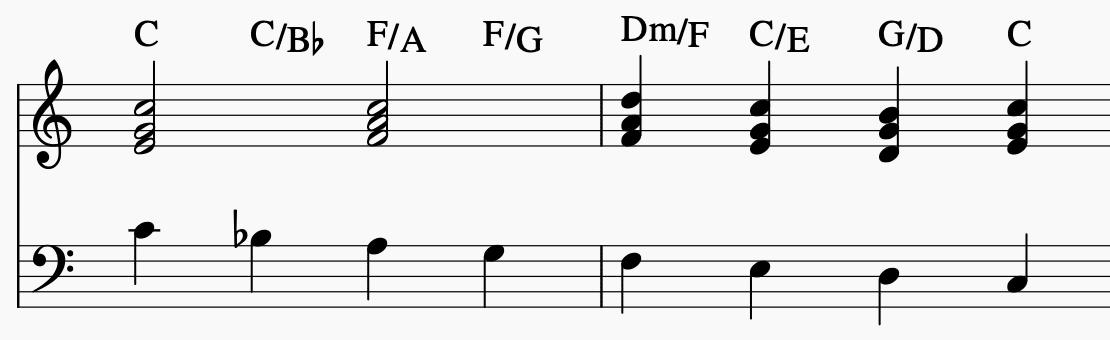 Slash-Akkorde Beispiel Bass-Lauf