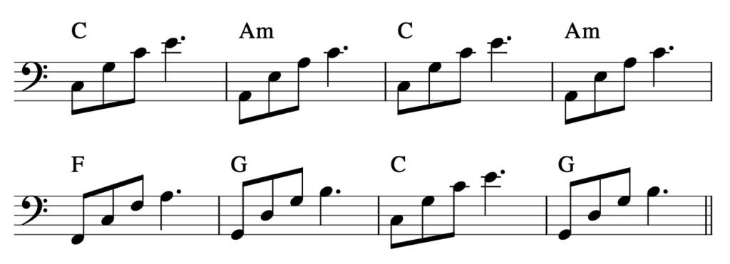 Klavier linke Hand Akkorde Power-Chord-Arpeggios