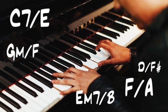Slash-Akkorde auf dem Klavier